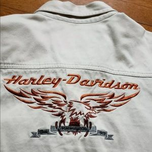 Harley Davidson shirt Khaki Embroidered logo